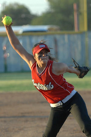 Imperial High's Ashley Caro winds up to deliver against La Jolla Country Day in the CIF-San Diego Section Division IV playoffs Tuesday in Imperial.