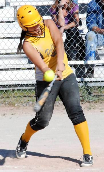 Shelby Hughey of Pellston connects with a pitch Tuesday during a non-league doubleheader with Rogers City at Pioneer Park.