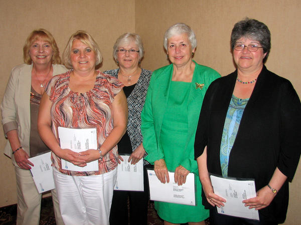 City Hospital employees with 35 years of service to the hospital were recently honored. Pictured from left are Gloria Mason, Cheryl Denton, Dottie Ware, Ginny Reisenweber and Julia Harper.