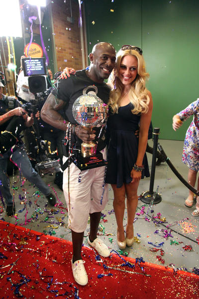 """Dancing With The Stars"" winners Peta Murgatroyd and Donald Driver (L) arrive at ABC's ""Good Morning America"" in Times Square on May 23, 2012 in New York City."