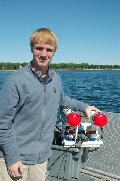 Tyler Engstrom has been working with the Charlevoix Fisheries Research Station on its underwater robot.
