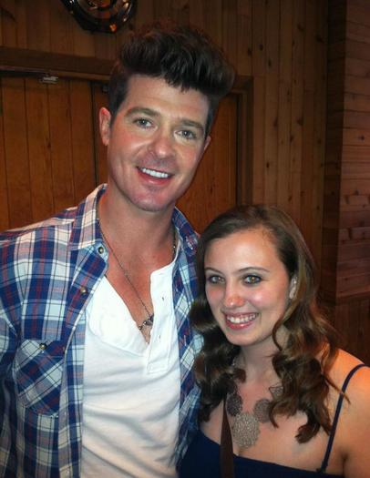 "Robin Thicke poses with Leah Jones, a Chesapeake resident who will appear on the ABC show ""Duets."""