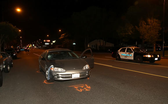 Burbank police investigate the scene of the fatal collision Tuesday night, May 22.