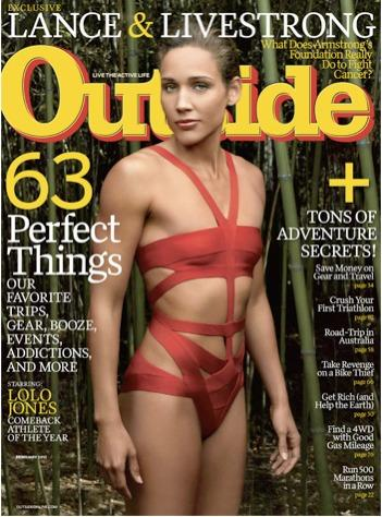Lolo Jones on the cover of the February, 2012 Outside magazine.