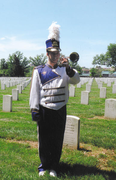 Smithsburg High School sophomore Nathaniel Laye was among 150 buglers and trumpeters who played taps at Arlington National Cemetery on May 19, Armed Forces Day.