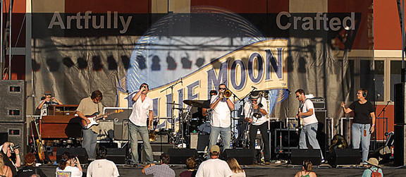 Bonerama performs at the Western Maryland Blues Fest in 2011. The person on the right with headphones on is a member of Deafnet whose job it is to interpret the songs using American Sign Language.