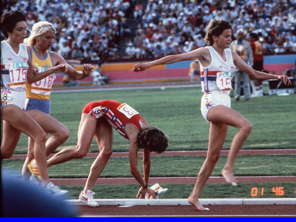 Olympic Games TV moments worth remembering: The Soviet Union and 13 other Eastern Bloc nations gave payback for the American boycott of the 1980 Moscow Olympics by not showing up in Los Angeles in 1984. As if searching for another bogeyman opponent, NBC settled on South Africa, which was not allowed to compete because of its apartheid policy, so when South African distance runner Zola Budd moved to London to compete for England, the network settled on a rivalry with American distance runner Mary Decker. Never mind that a third woman, Romanian Maricica Puic, had a better time in their race, the 3,000 meters, than either of them. The race did not disappoint, at least in the personal-drama realm. Budd and Decker bumped three times, the last one making Decker slip and fall off the track and did not get back into the race. Budd later said that made her embarrassed, especially after the L.A. crowd started booing her. She came in seventh.
