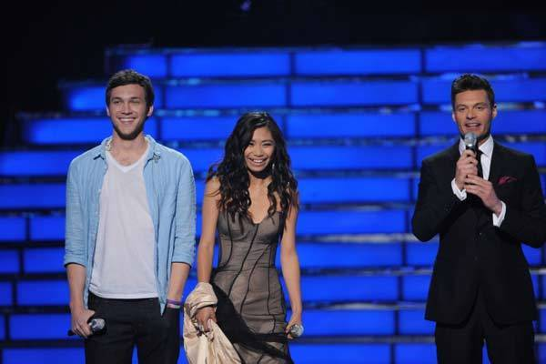 "Phillip Phillips and Jessica Sanchez with Ryan Seacrest on ""American Idol"" on May 22."
