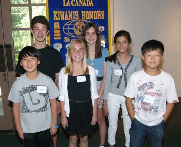 Students from La Canada Elementary School honored as Terrific Kids by the Kiwanis Club last week were, from left, Thomas Huh, Haig Manoukian, Madeline Reilly, Nicole Alexander, Saira Singh and Alan Kim.
