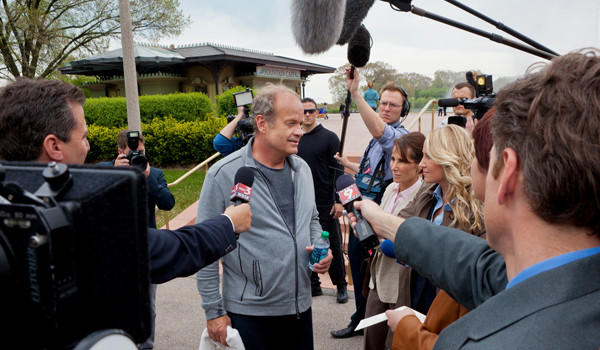 "Chicago Mayor Tom Kane (Kelsey Grammer) talks to the press in a scene for Season 2 of Starz' ""Boss."""