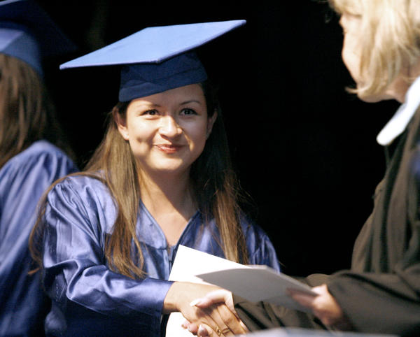 Rosa Batz receives her GED during the Burbank Adult School Graduation Ceremony at Luther Middle School Auditorium in Burbank on Wednesday, May 23, 2012.