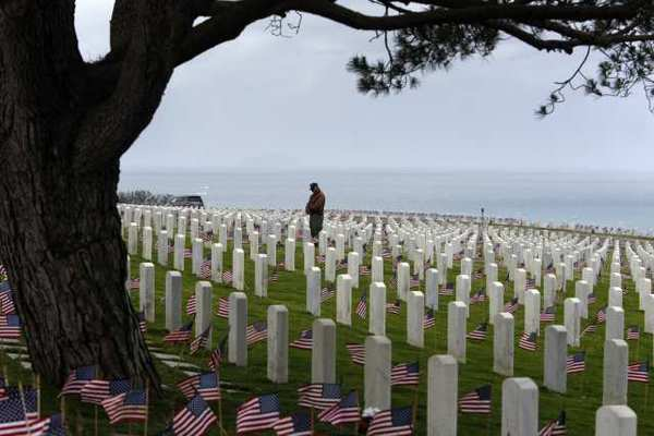 Rosecrans National Cemetery overlooking the Pacific Ocean in Point Loma, San Diego.