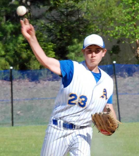 Brett Williams picked up a victory Wednesday in helping Alanson to a non-league baseball sweep of Brimley.