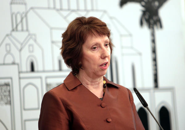 European Union Foreign Policy Chief, Catherine Ashton, speaks during a press conference in Baghdad.