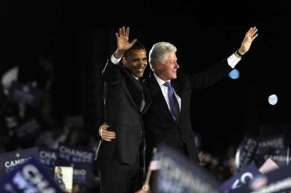 Barack Obama and Bill Clinton in 2008.