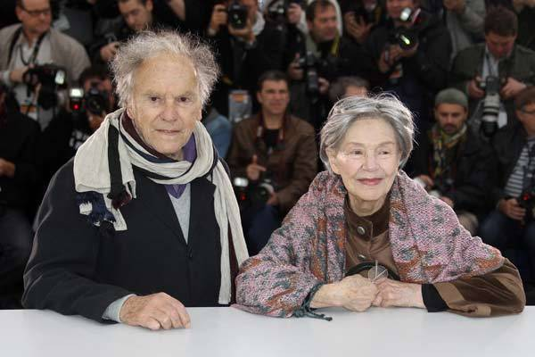 French actor Jean-Louis Trintignant and French actress Emmanuelle Riva pose during the photocall of 'Amour' (Love) presented in competition at the 65th Cannes film festival.