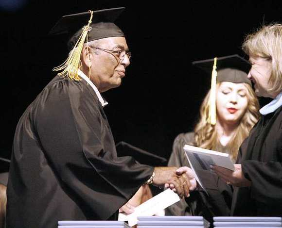 David Standel, 69, graduates at the Burbank Adult School graduation ceremony at Luther Middle School Auditorium in Burbank on Wednesday, May 23, 2012