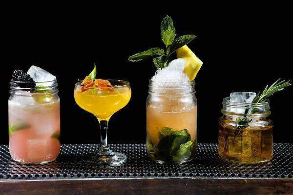 A few of Dave Whitton's shrub creations at Villains Tavern in downtown L.A. are, from left, the Oleander, the Venus Fly Trap, Angel's Trumpet and Gosling's Ginger Beer.