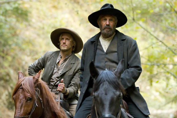 "Matt Barr (left) plays Johnse Hatfield, the son of Kevin Costner's character, Devil Anse Hatfield, in ""Hatfields & McCoys."""