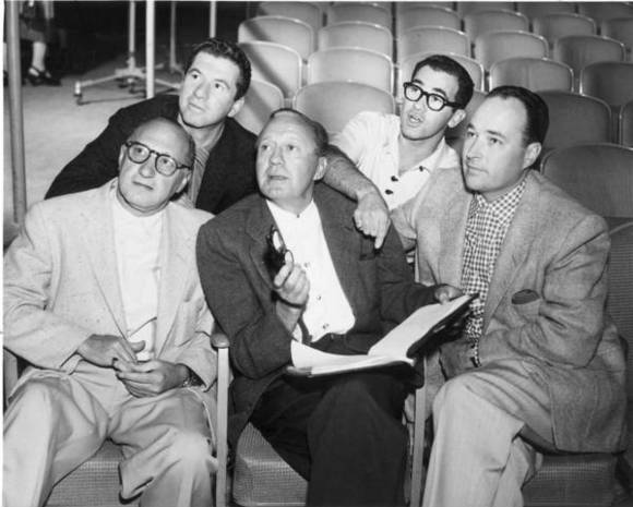 Jack Benny and writers, including Al Gordon, second from right