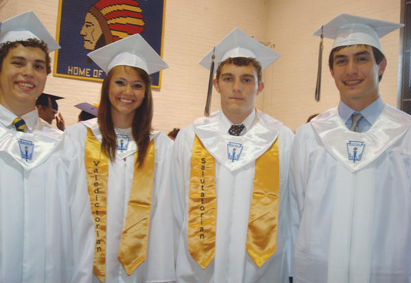 Berkeley Springs (W.Va.) High Schools Class of 2012 includes, from left, Loguen McKee, Valedictorian Kelsey Weimer, Salutatorian Zachary White and Zane Mokhiber.