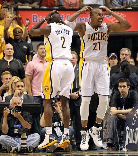 The Indiana Pacers' Darren Collison (2) and David West (21) react to an official's call in the third quarter against the Miami Heat in Game 6 of the Eastern Conference Semifinals at Bankers Life Fieldhouse on Thursday, May 24, 2012.
