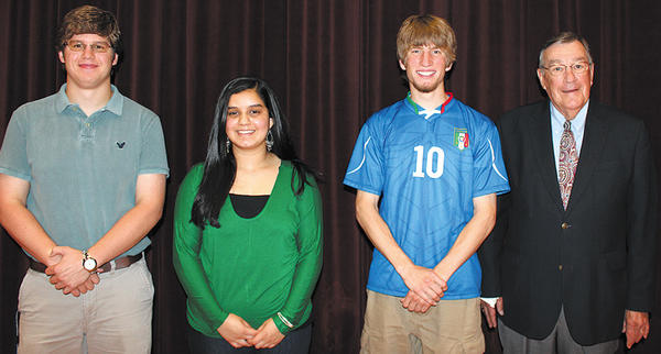Don Barnhart, right, chairman of Greencastle-Antrim (Pa.) Endowment, presented $2,000 scholarships from the endowment to, from left, Ethan Koons, Ammarah Spall and Gregory Boyer.