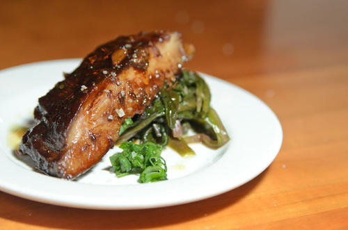 Korean Lacquered Baby Back Ribs with Ramp Kimchee & Chili.