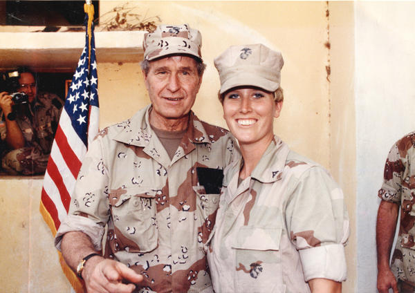 When President George H.W. Bush visited the Marines he¿d sent to Somalia on a humanitarian mission, Lance Corporal Marcy Beauchesne felt honored to be his guide on the tour.