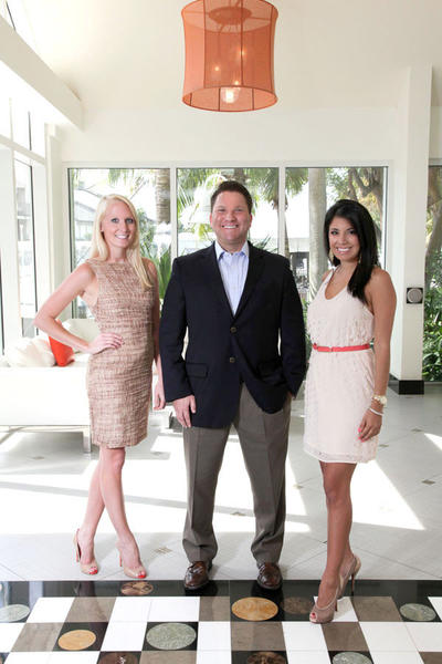 "Danielle Walker, left, Scott Windsor and Romina Sifuentes promote the Cystic Fibrosis Foundation's ""Fort Lauderdale's Finest Gala,"" which takes place on June 23 at the Hilton Fort Lauderdale Marina."