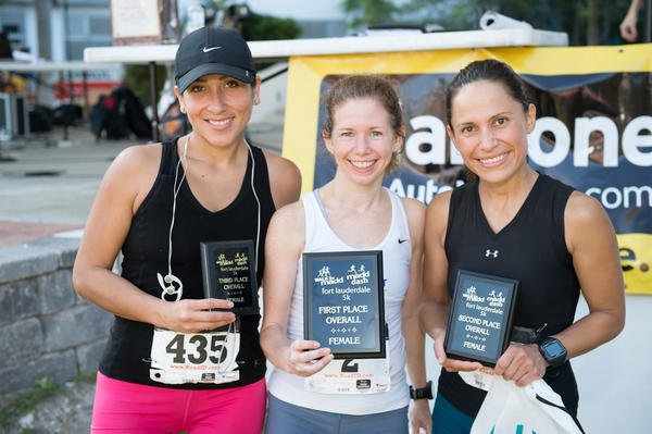 "Antuanet Ruiz, left, Julie West and Estela Ortiz at the ""Maroone 5K Walk Like MADD & MADD Dash,"" which took place on May 6 at Huizenga Park and raised more than $84,000."