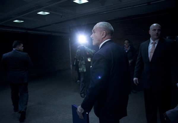 New York City Police Commissioner Ray Kelly leaves a news conference at police headquarters on Thursday in New York City. Kelly announced the arrest of Pedro Hernandez, who police say confessed to the 1979 killing of 6-year-old Etan Patz.