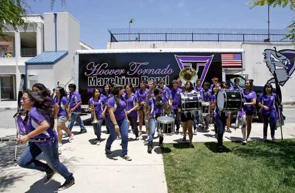 The Hoover High School band showed off the new truck they have on Tuesday, May 31, 2011. A parent donated the truck and Lexus of Glendale paid for the paint job.
