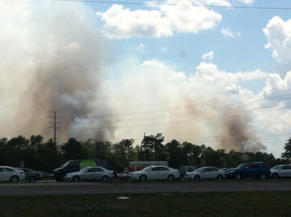 Winds are helping fuel the fire that has closed Interstate 4.