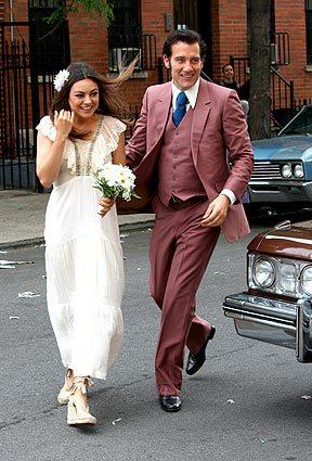 "Mila Kunis and Clive Owen filming ""Blood Ties"" on the streets of Brooklyn, N.Y."