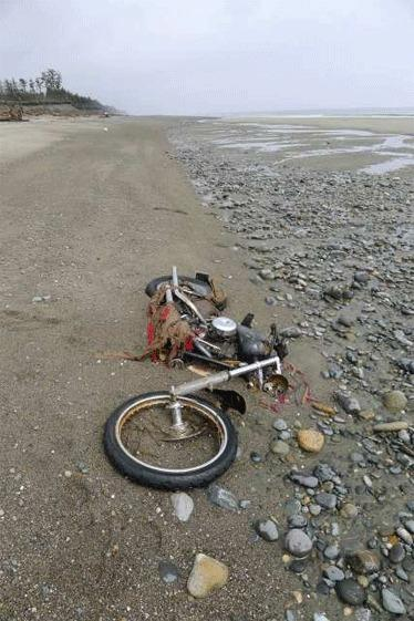 A rusting Harley-Davidson from Miyagi prefecture, Japan, was discovered on a remote beach in British Columbia in late April and photographed May 2.