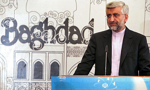 Iran's chief nuclear negotiator, Saeed Jalili, speaks during a news conference in Baghdad after the end of talks this week with six world powers on his country's nuclear program. The IAEA finding of traces of highly enriched uranium in Iran may complicate those negotiations, which are set to continue next month in Moscow.