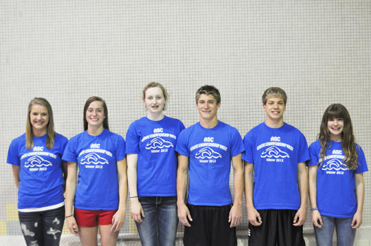 These swimmers from the Aberdeen Swim Club took part in the Speedo Championship meet in Pleasant Prairie, Wis., on March 8-11. From left are Shayle Finnesand, Hannah Kastigar, Emmy Nelson, Adam Kastigar, Tucker Iwerks and Molly Hogg.