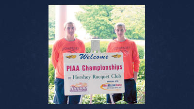 Somerset's Jared Harshbarger, left, and his twin brother Justin competed in the PIAA boys doubles championships Friday at the Hershey Racket Club.