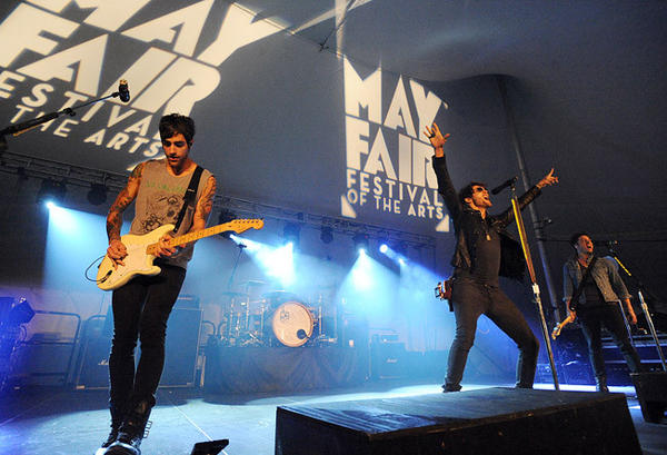 Boys Like Girls performs during B104 Night at Mayfair Festival of the Arts Friday night.