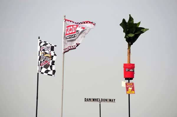 A sign in the infield called Dan Wheldon Way as seen during Carb Day for the Indianapolis 500 at the Indianapolis Motor Speedway.