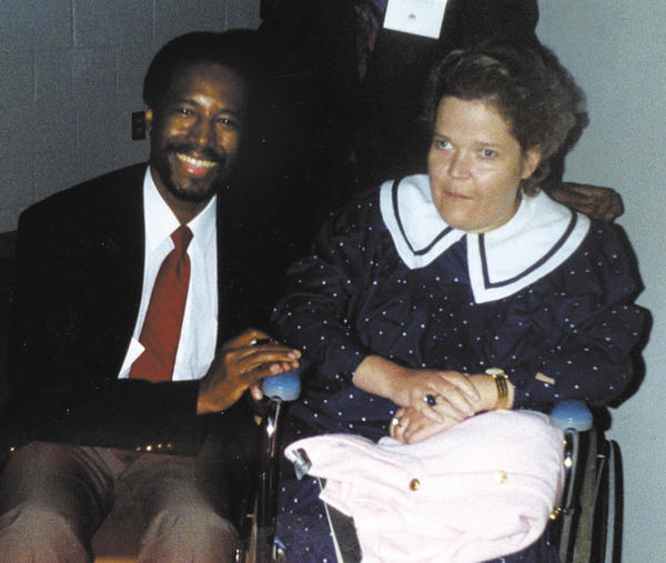 Renowned pediatric neurosurgeon Dr. Ben Carson performed surgery at Johns Hopkins Hospital on Becky to remove a spinal tumor in October 1988. They are shown together in this 1989 photo.