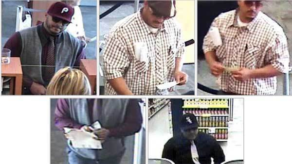 Surveillance photos of a suspect in at least three recent bank robberies.
