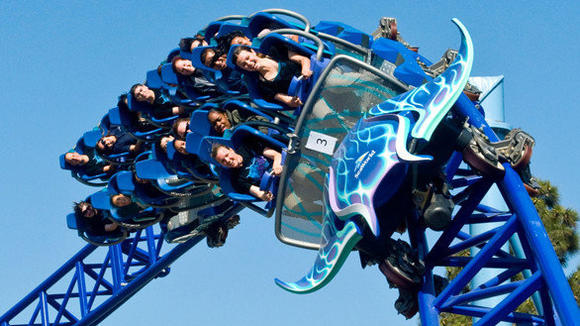 Manta roller coaster at SeaWorld Sa