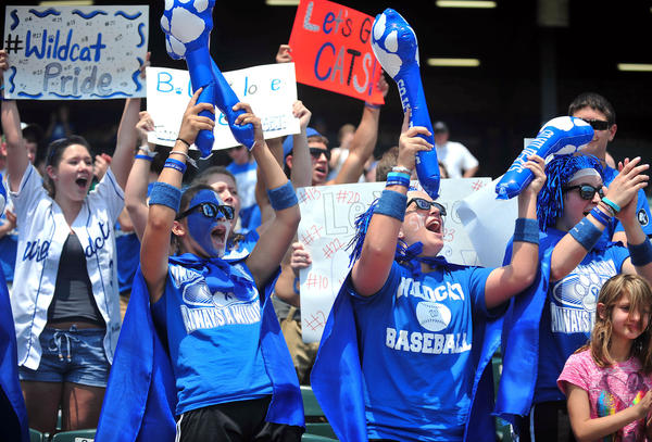 Williamsport High School fans cheer for their team as they play against Patuxent High School during the Maryland State 2A Baseball Championships at Cal Ripken Stadium in Aberdeen Saturday.