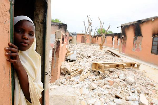 Boko Haram attacked a school in Maiduguri, northeastern Nigeria, on May 12, leaving burned-out classrooms and piles of debris. The Islamist extremist group opposes education.