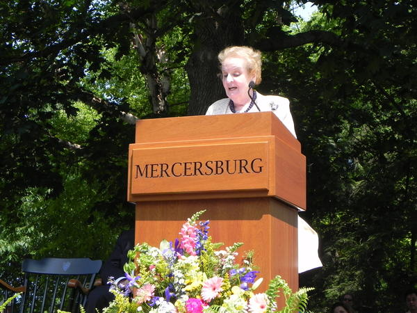 Former Secretary of State Madeleine Albright was the keynote speaker at Mercersburg Academy's 119th Commencement in Mercersburg, Pa., on Saturday.