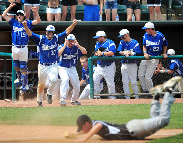 Williamsport's baseball team celebrates as the winning run scores in the bottom of the ninth inning Saturday against Patuxent in the Maryland Class 2A state final at Ripken Stadium in Aberdeen.