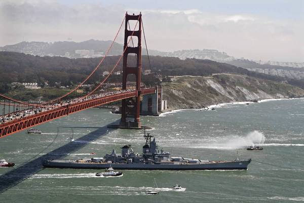 On May 26, 2012, the 69-year-old battleship Iowa is towed just beyond the Golden Gate Bridge and out into the ocean on its final voyage to Southern California and its permanent home as a floating museum on the San Pedro waterfront.