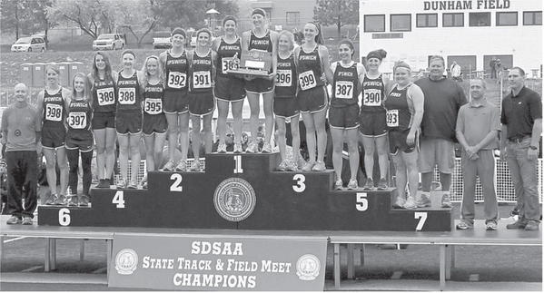 Members of the Ipwsich girls track team took home the school's first ever state championship Saturday at the South Dakota State Track Meet in Rapid City. From the left are head coach Todd Thorson, Kristi Pond, Autumn Pitz, Sydney Hammrich, Maci Gauer, Taylor Loken, Tara Heinz, Maci Heinz, Kelsey Braun, Alexis Lloyd, Tori Moore, Ansley Sargent, Heather Fuhrmann, Angela Heinz, Madison Kienow, assistant coaches Bill Mower, Jeremy Loken and Todd Naasz. American News Photo by John Davis